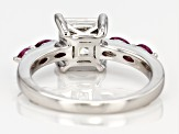 Moissanite And Rhodolite Garnet Platineve Ring 1.70ct DEW