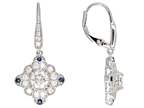 Moissanite And Blue Sapphire Platineve Earrings 1.78ctw DEW