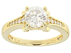 Moissanite 14k Yellow Gold Over Silver Ring 1.32 ctw DEW.