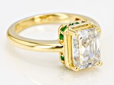 Moissanite And Emerald 14k Yellow Gold Over Silver Ring 2.52ctw DEW.