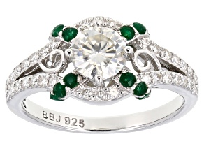 Moissanite And Emerald Platineve Ring 1.14ctw DEW