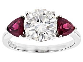 Moissanite And Rhodolite Platineve® Ring 2.20ctw DEW