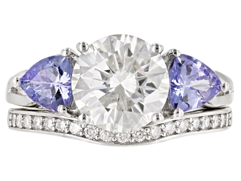 Moissanite And Tanzanite Platineve® Ring 2.39ctw DEW