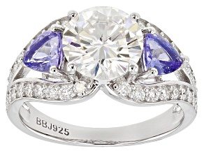 Moissanite And Tanzanite Platineve® Ring 2.92ctw DEW