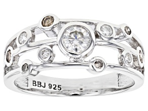 Moissanite And Champagne Diamond Platineve Ring .33ctw DEW