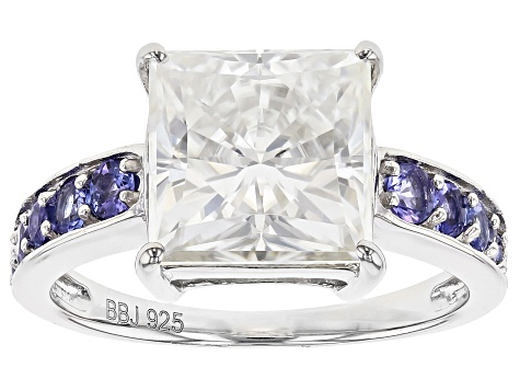 Moissanite And Tanzanite Platineve Ring 4.30ct DEW