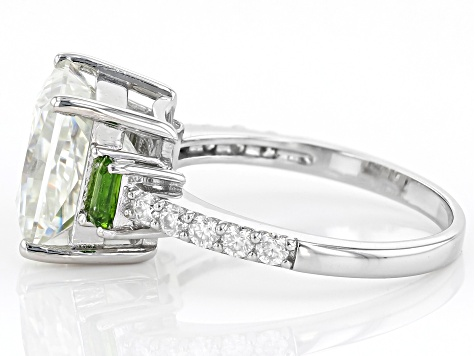 Moissanite And Chrome Diopside Platineve Ring 4.60ctw DEW