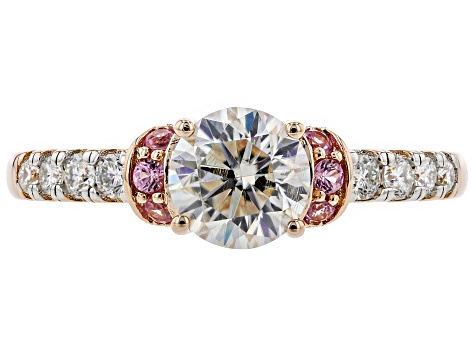 Moissanite And Pink Sapphire 14k Rose Gold Over Silver Ring 1.00ctw DEW.
