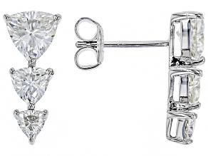 Moissanite Platineve Earrings 2.28ctw DEW