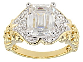 Moissanite 14k Yellow Gold Over Silver Ring 3.83ctw D.E.W