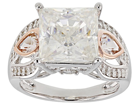 Moissanite And Morganite Platineve And 14k Rose Gold Accent Ring 6.37ctw D.E.W