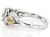 Moissanite And Yellow Sapphire Platineve Ring 1.80ctw DEW