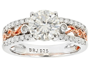 Moissanite Platineve With 14k Rose Gold Accent Ring 1.78ctw DEW