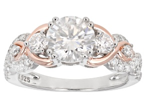 Moissanite Platineve With 14k Rose Gold Accent Ring     2.08ctw DEW