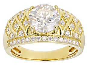 Moissanite 14K Yellow Gold Over Silver Ring 2.48ctw DEW