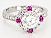 Moissanite And Grape Color Garnet Platineve Ring 2.28ctw DEW