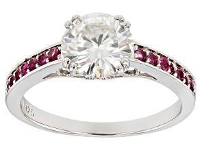 Moissanite And Grape Color Garnet Platineve Ring  1.50ct DEW