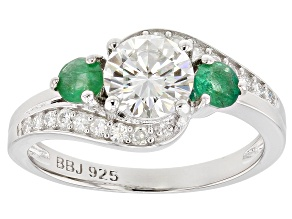 Moissanite And Zambian Emerald Platineve Ring 1.16ctw DEW