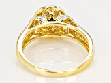 Moissanite 14k Yellow Gold Over Silver Ring .67ctw DEW.