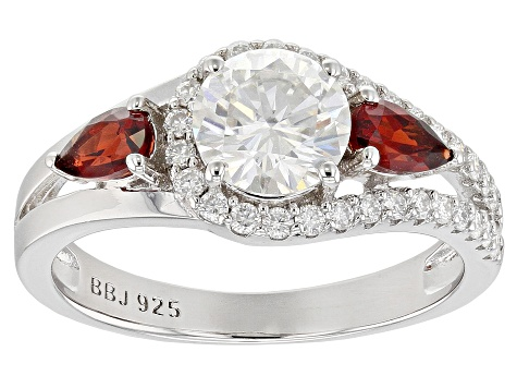 Moissanite And Red Garnet Platineve Ring 1.30ctw DEW