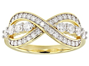 Moissanite 14k Yellow Gold Over Silver Ring .78ctw DEW