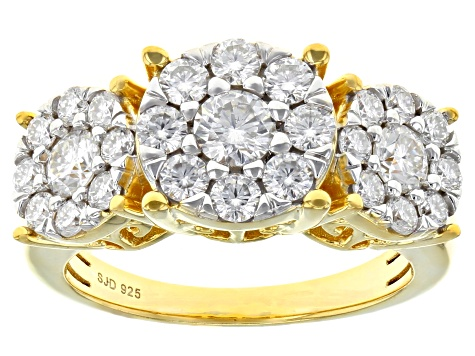 Moissanite 14k Yellow Gold Over Silver Ring 1.51ctw DEW.