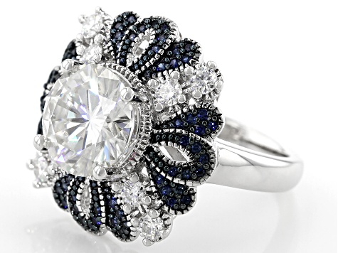 Moissanite And Blue Sapphire Platineve Ring 4.08ctw DEW.