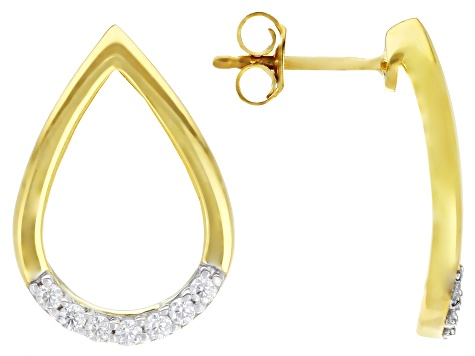 Moissanite 14k Yellow Gold Over Silver Earings .28ctw DEW.