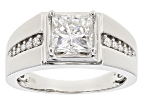 Moissanite Platineve gents ring 2.66ctw DEW.