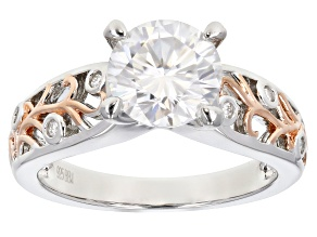 Moissanite Platineve And 14K Rose Gold Two Tone Ring 1.96ctw DEW.