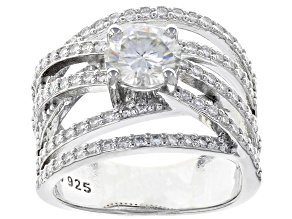 Moissanite Platineve Ring 2.14CTW DEW