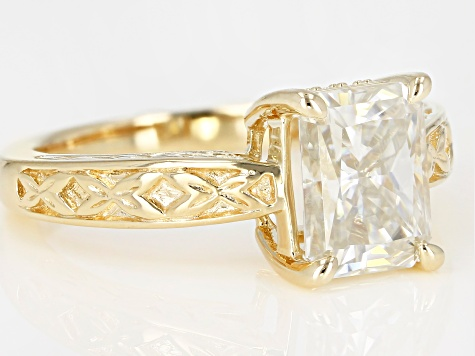 Moissanite 14k Yellow Gold Over Silver Ring 2.76ctw     DEW.