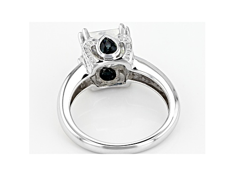 Moissanite And Blue Sapphire Platineve Ring 3.10ct DEW.