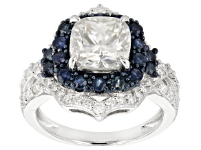 Moissanite And Blue Sapphire Platineve Ring 2.98ctw DEW.