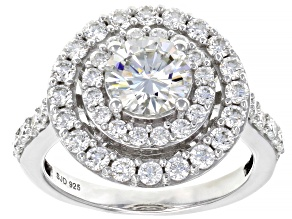 Moissanite Platineve Ring 2.36ctw DEW.