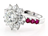 Moissanite And Burmese Ruby Platineve Ring 2.90ctw DEW.