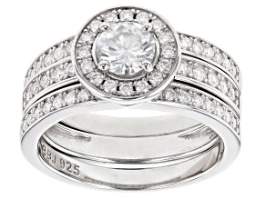 Moissanite Platineve Ring Set 1.38ctw DEW.