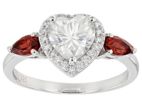 Moissanite And Red Garnet Platineve(R) Ring 1.40ctw DEW.