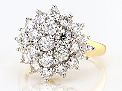 Moissanite 14k Yellow Gold Over Silver Ring 2.66ctw D.E.W