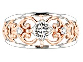 Moissanite Platineve And 14k Rose Gold Two-Tone Ring .86ctw DEW.