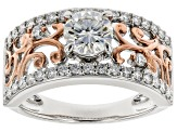 Moissanite Platineve And 14k Rose Gold Two-Tone Ring 1.20ctw DEW.