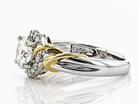Moissanite Platineve And 14k Yellow Gold Two-Tone Ring 1.44ctw DEW.