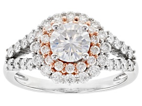 Moissanite Platineve With 14k Rose Gold Accent Ring 2.04ctw DEW.