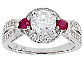 Moissanite and Burmese Ruby Platineve Ring 1.40ctw.