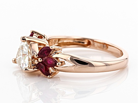 Moissanite and Burma Ruby 14k rose gold over sterling silver ring 1.00ct DEW