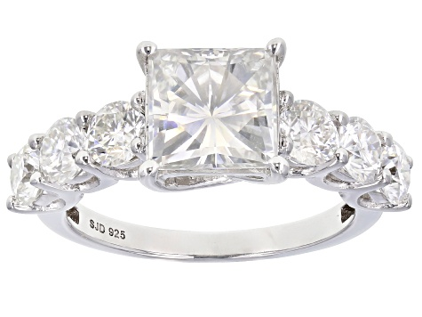 Moissanite Platineve Ring 3.88ctw DEW.