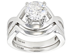 Moissanite Platineve Ring With Band 1.90ct DEW.