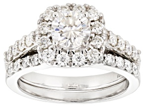 Moissanite Platineve Ring With Band 1.79ctw DEW.
