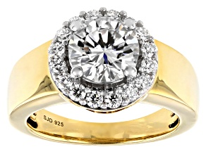 Moissanite 14k Yellow Gold Over Silver Ring 2.38ctw DEW