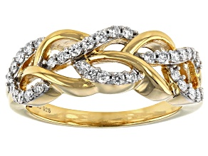 Moissanite 14k Yellow Gold Over Silver Ring .34ctw DEW
